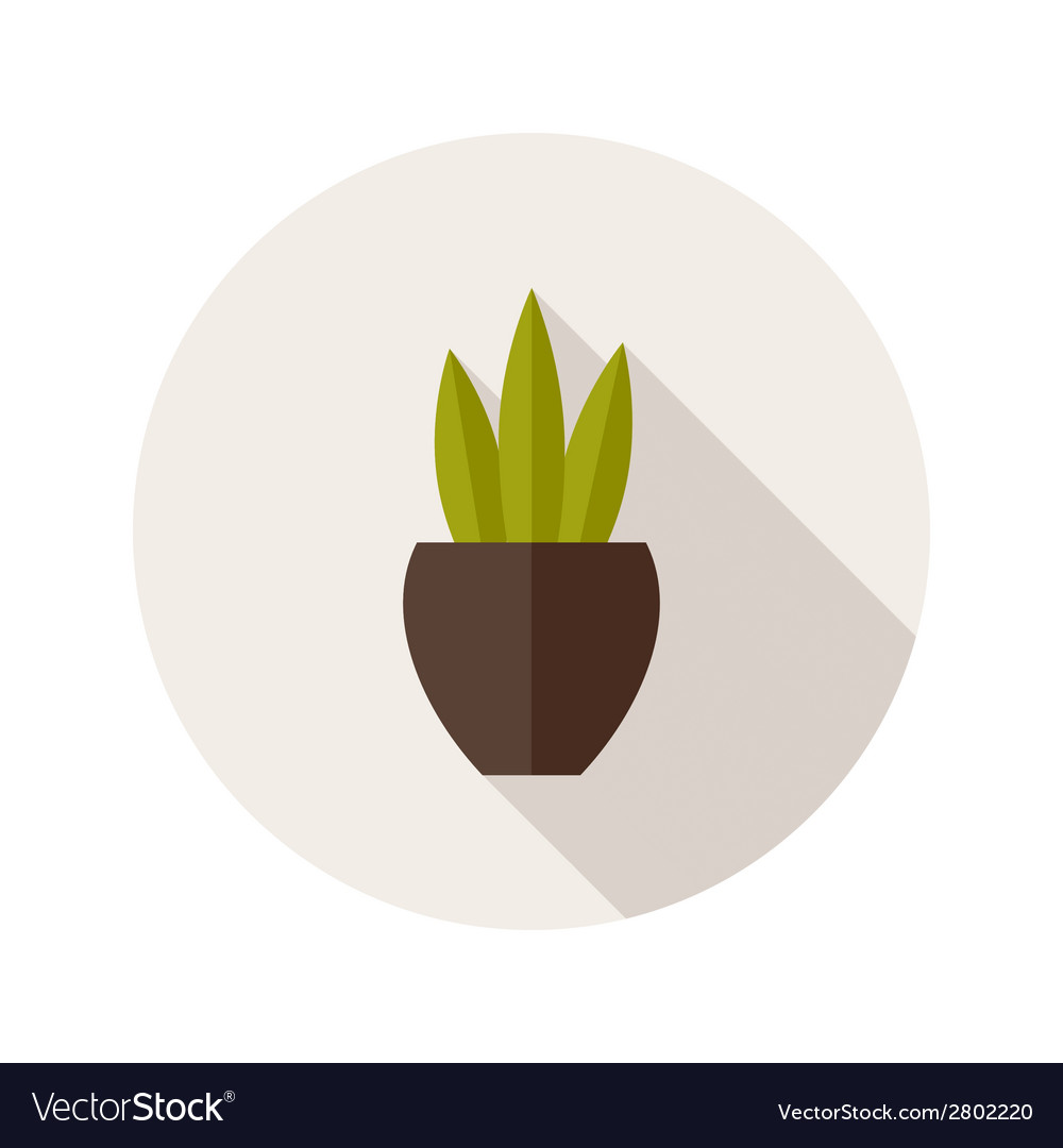 Pot with three leaves flat icon vector | Price: 1 Credit (USD $1)