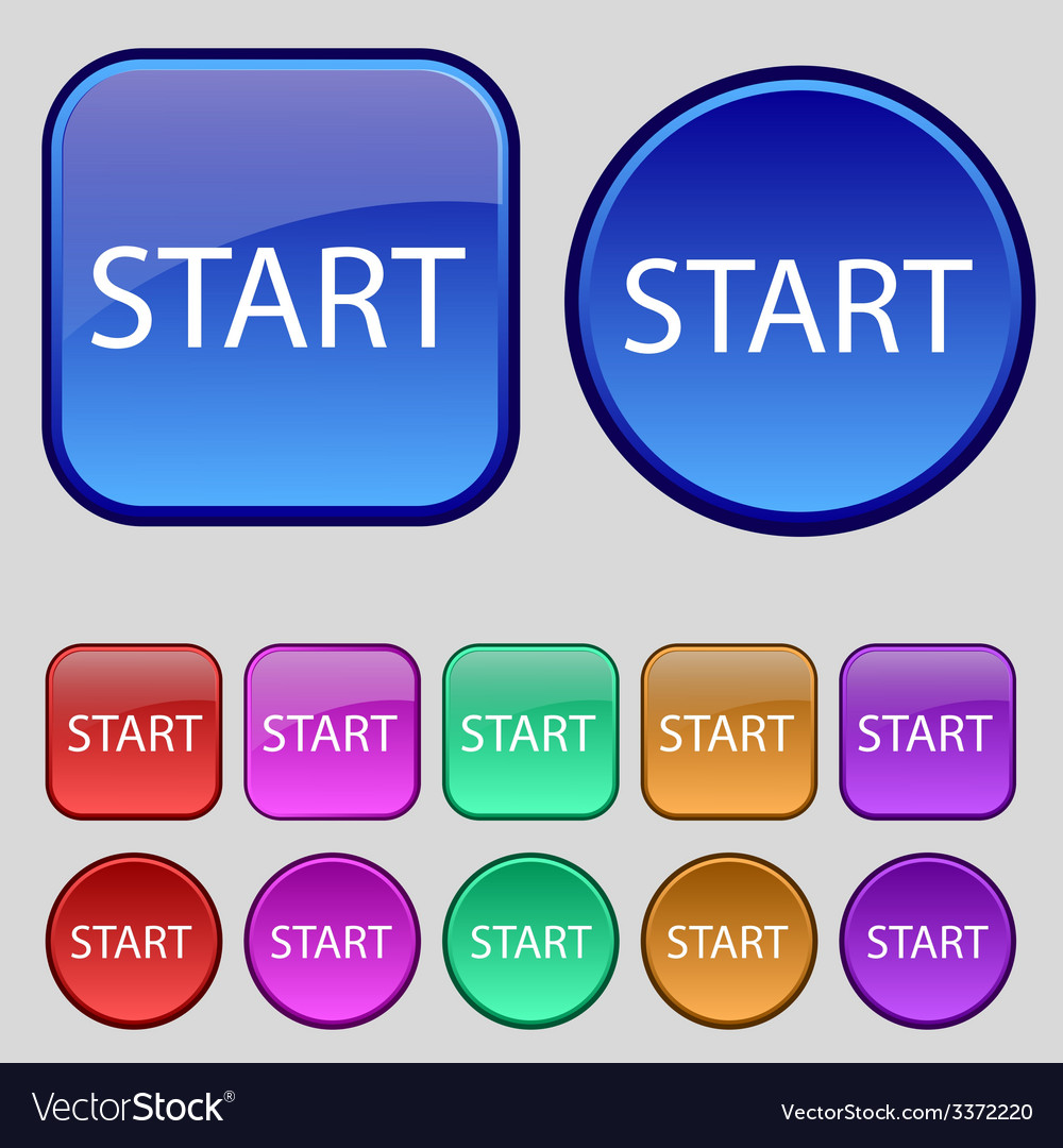 Start engine sign icon power button set of colored vector | Price: 1 Credit (USD $1)