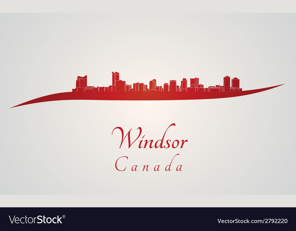 Windsor skyline in red vector | Price: 1 Credit (USD $1)