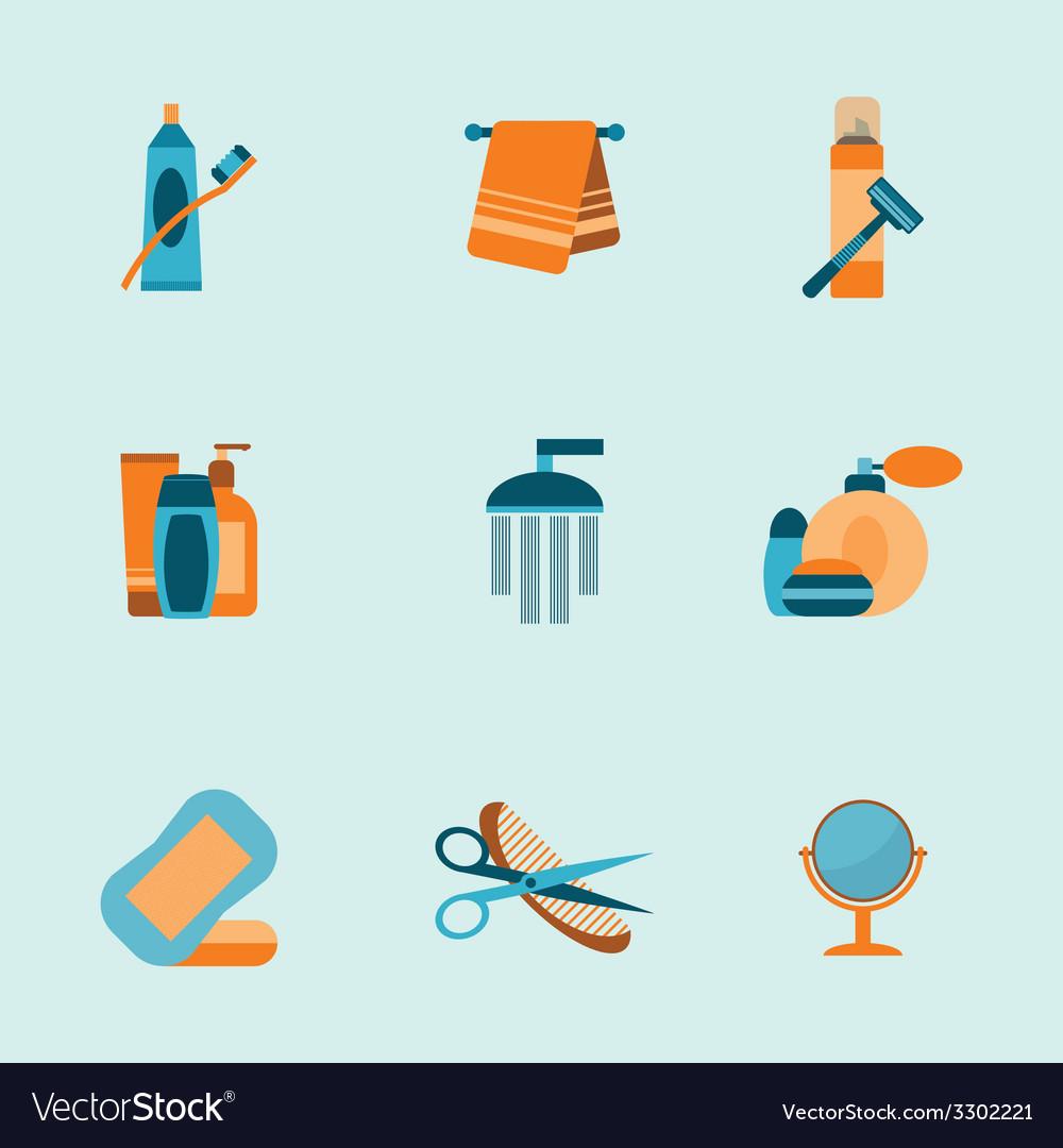 Bathroom icons set vector | Price: 1 Credit (USD $1)