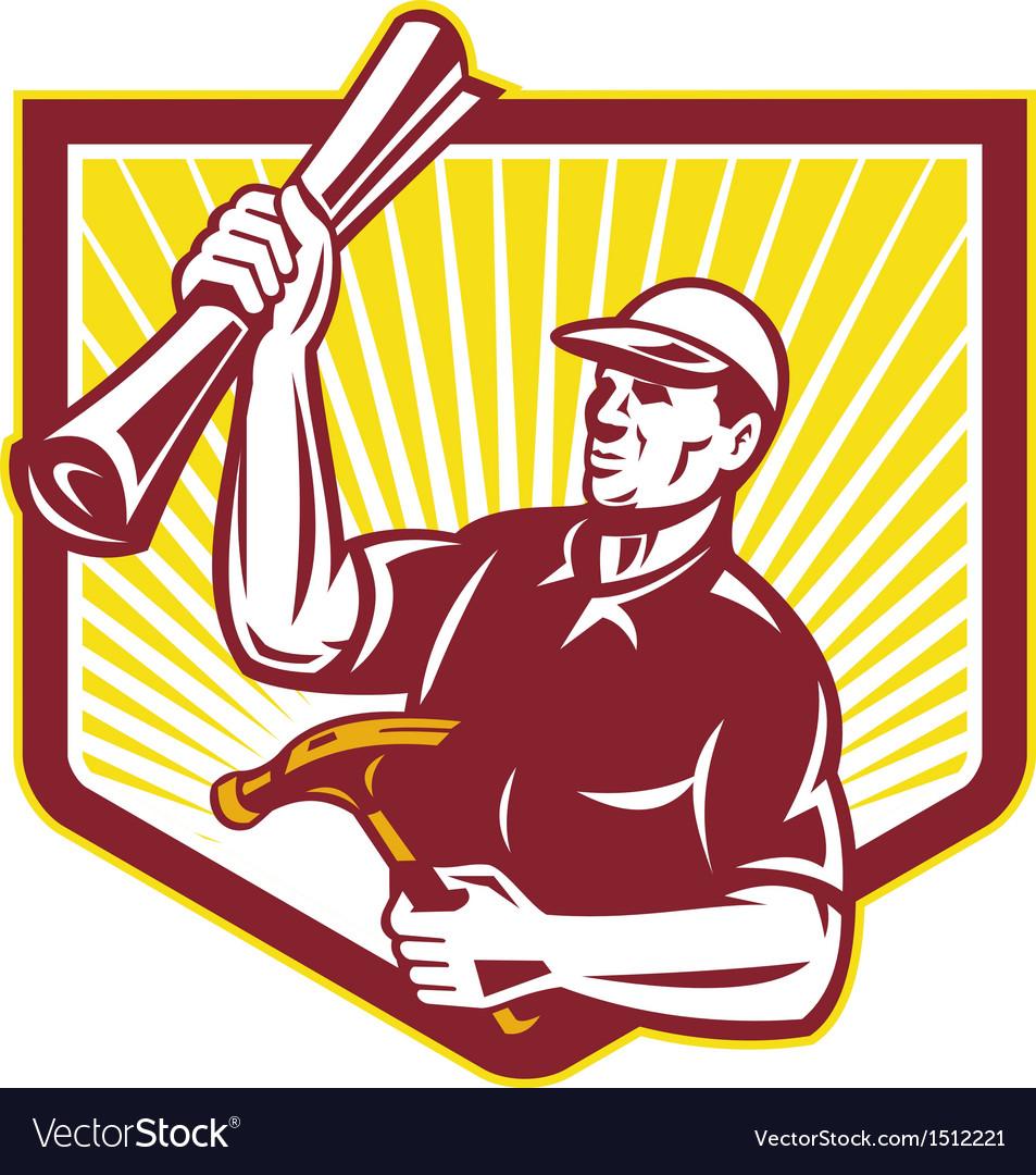 Builder carpenter hold hammer building plan retro vector | Price: 1 Credit (USD $1)