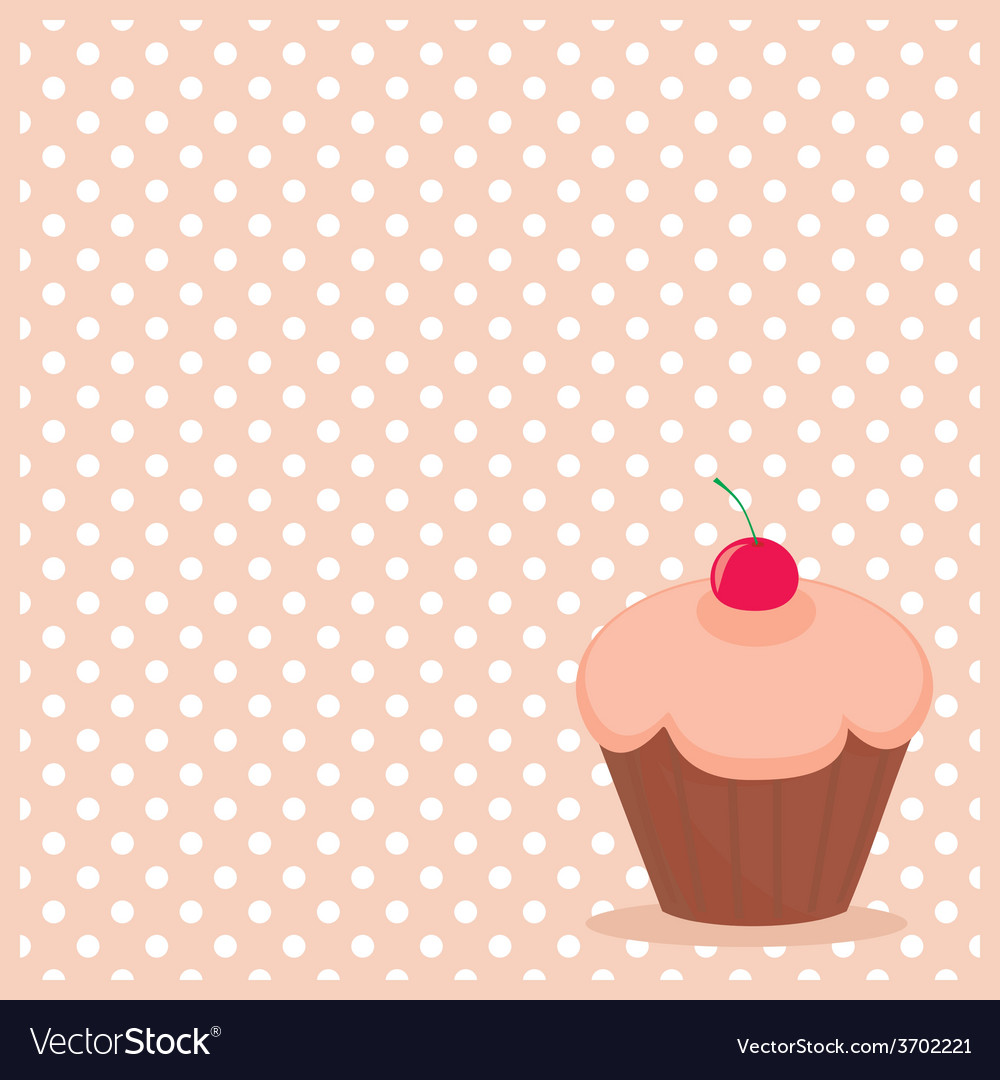 Cherry cupcake on white polka dots background vector | Price: 1 Credit (USD $1)