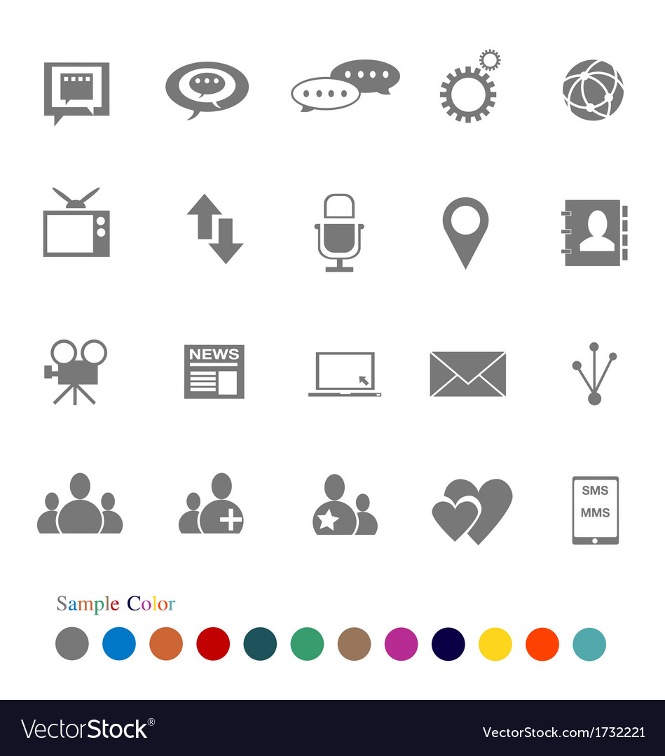 Collection icons set media vector | Price: 1 Credit (USD $1)