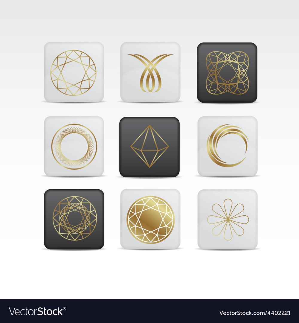 Diamond gold icon set vector | Price: 1 Credit (USD $1)