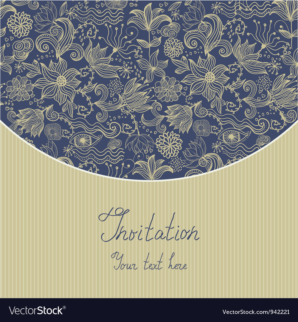 Floral invitation template vector | Price: 1 Credit (USD $1)