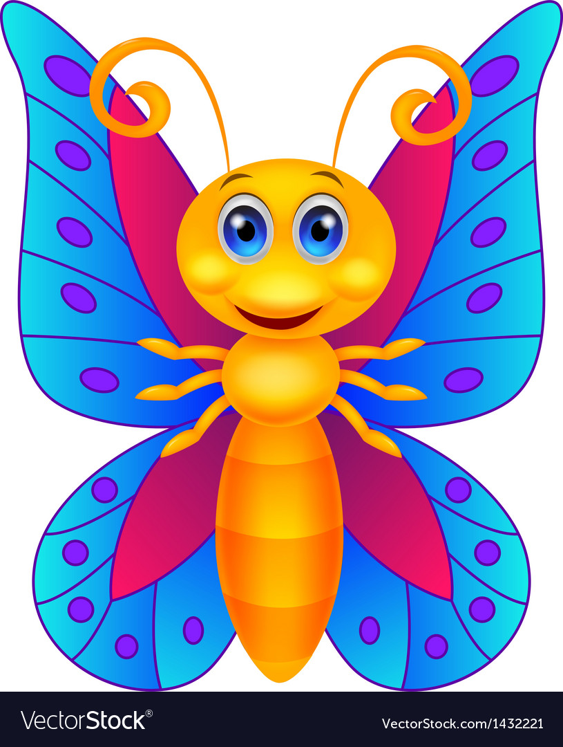 Funny butterfly cartoon vector | Price: 1 Credit (USD $1)