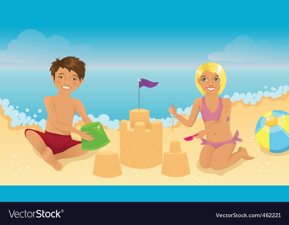 Kids playing on the beach vector | Price: 1 Credit (USD $1)