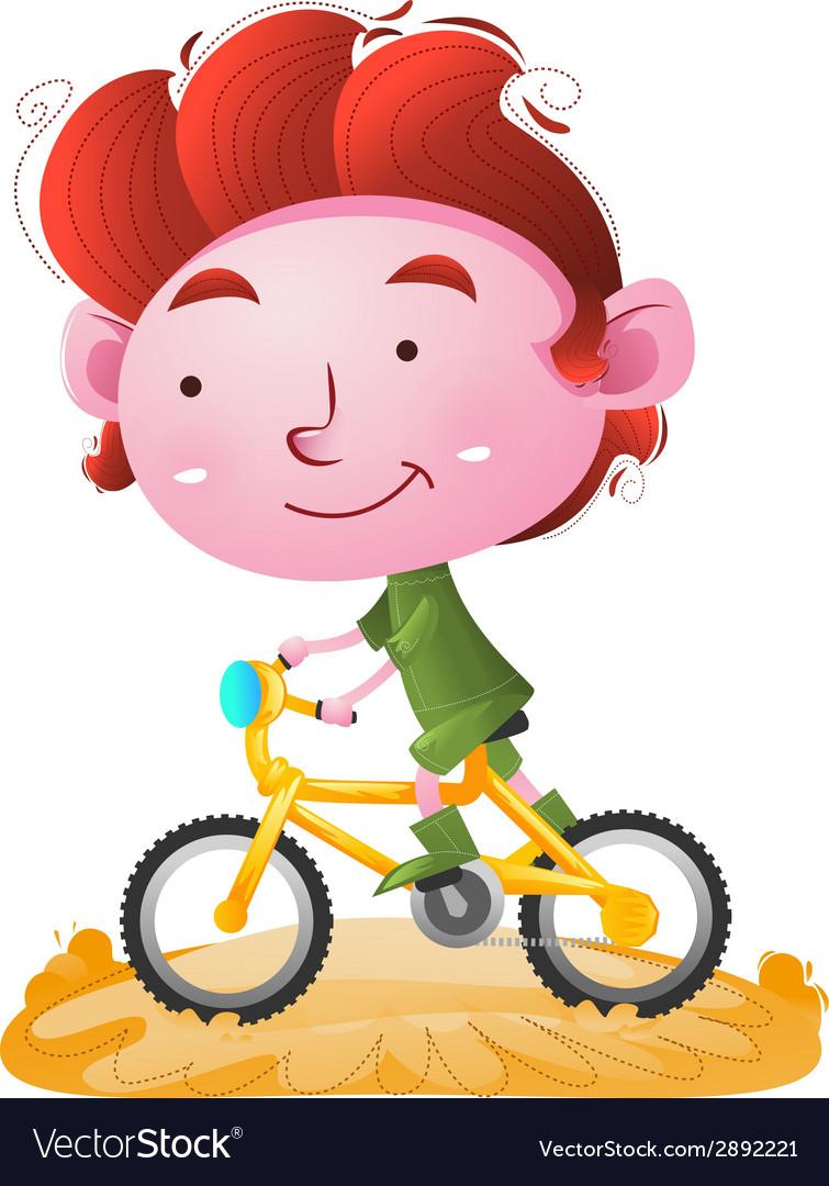 Kids riding bike vector | Price: 1 Credit (USD $1)