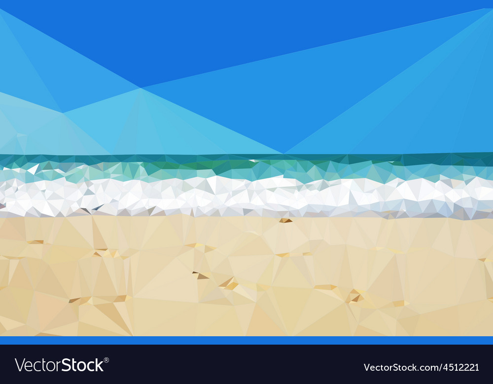 Low poly day beach background vector | Price: 1 Credit (USD $1)