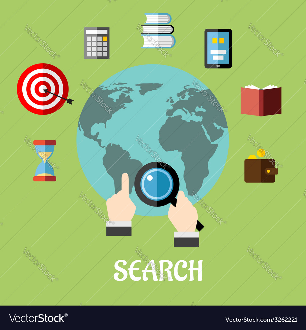 Man conducting a global search vector | Price: 1 Credit (USD $1)