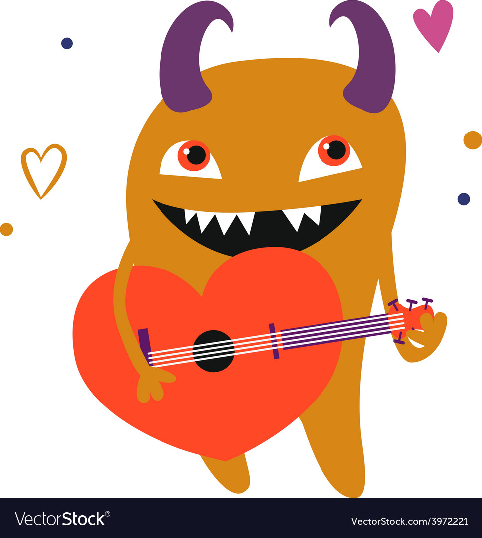 Orange monster with guitar vector | Price: 1 Credit (USD $1)