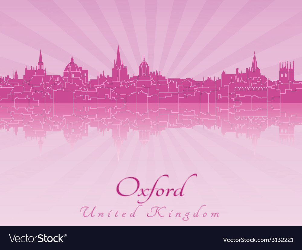 Oxford skyline in purple radiant orchid vector | Price: 1 Credit (USD $1)
