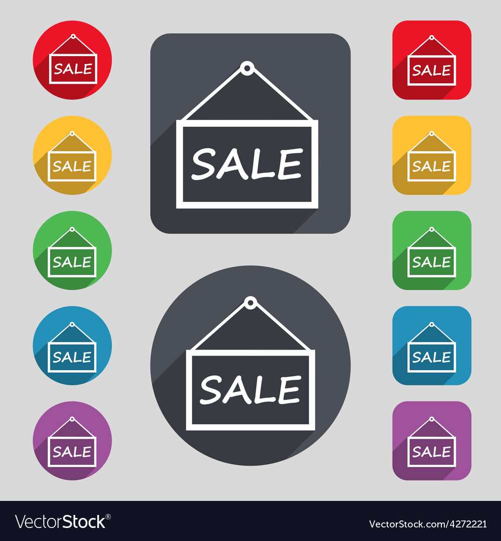 Sale tag icon sign a set of 12 colored buttons and vector | Price: 1 Credit (USD $1)