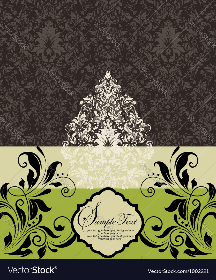 Wedding card on damask background vector   Price: 1 Credit (USD $1)