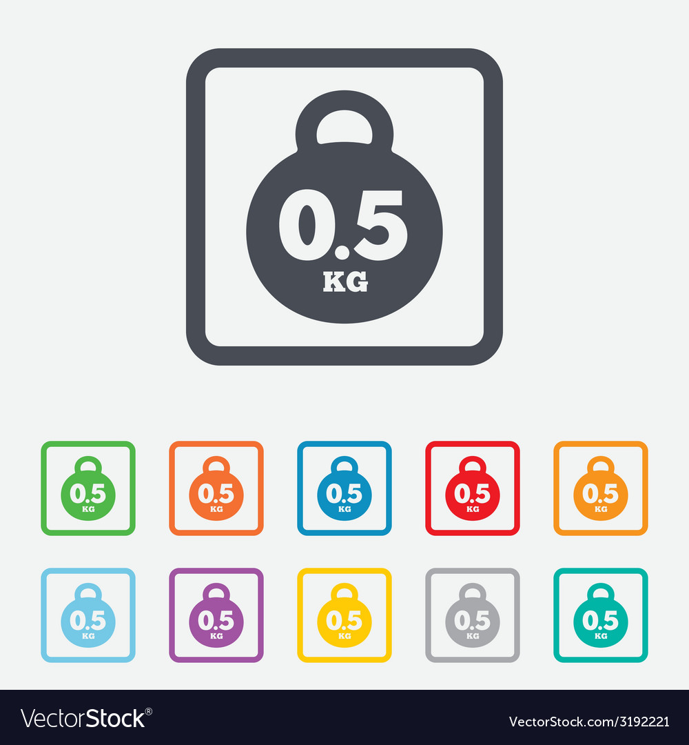 Weight sign icon 05 kilogram kg mail weight vector | Price: 1 Credit (USD $1)