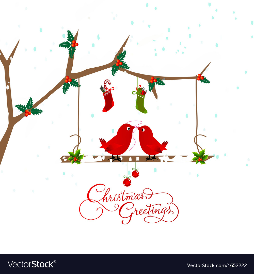 Birds couple on the holly berry branch holiday vector | Price: 1 Credit (USD $1)