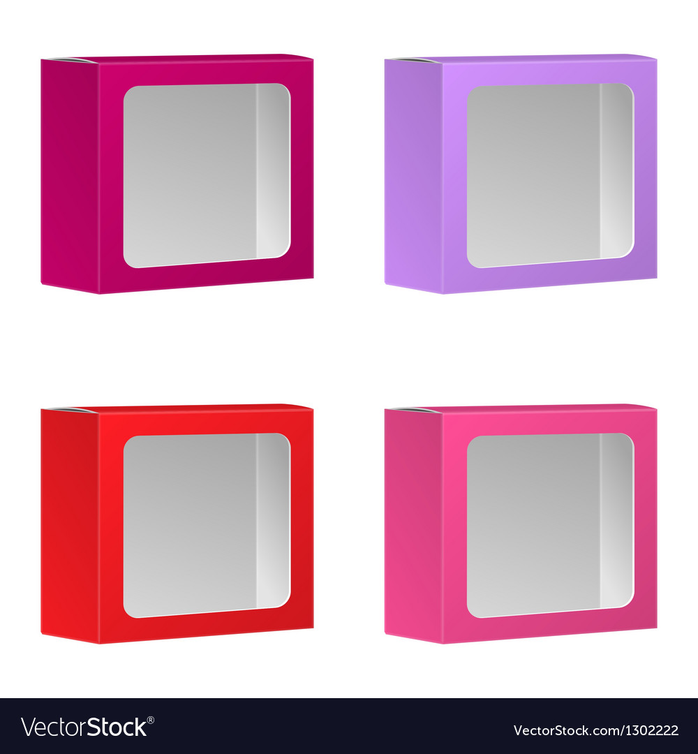 Blank product package box with window set vector | Price: 1 Credit (USD $1)