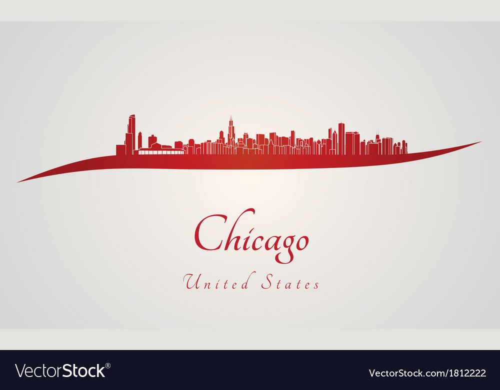 Chicago skyline in red vector | Price: 1 Credit (USD $1)