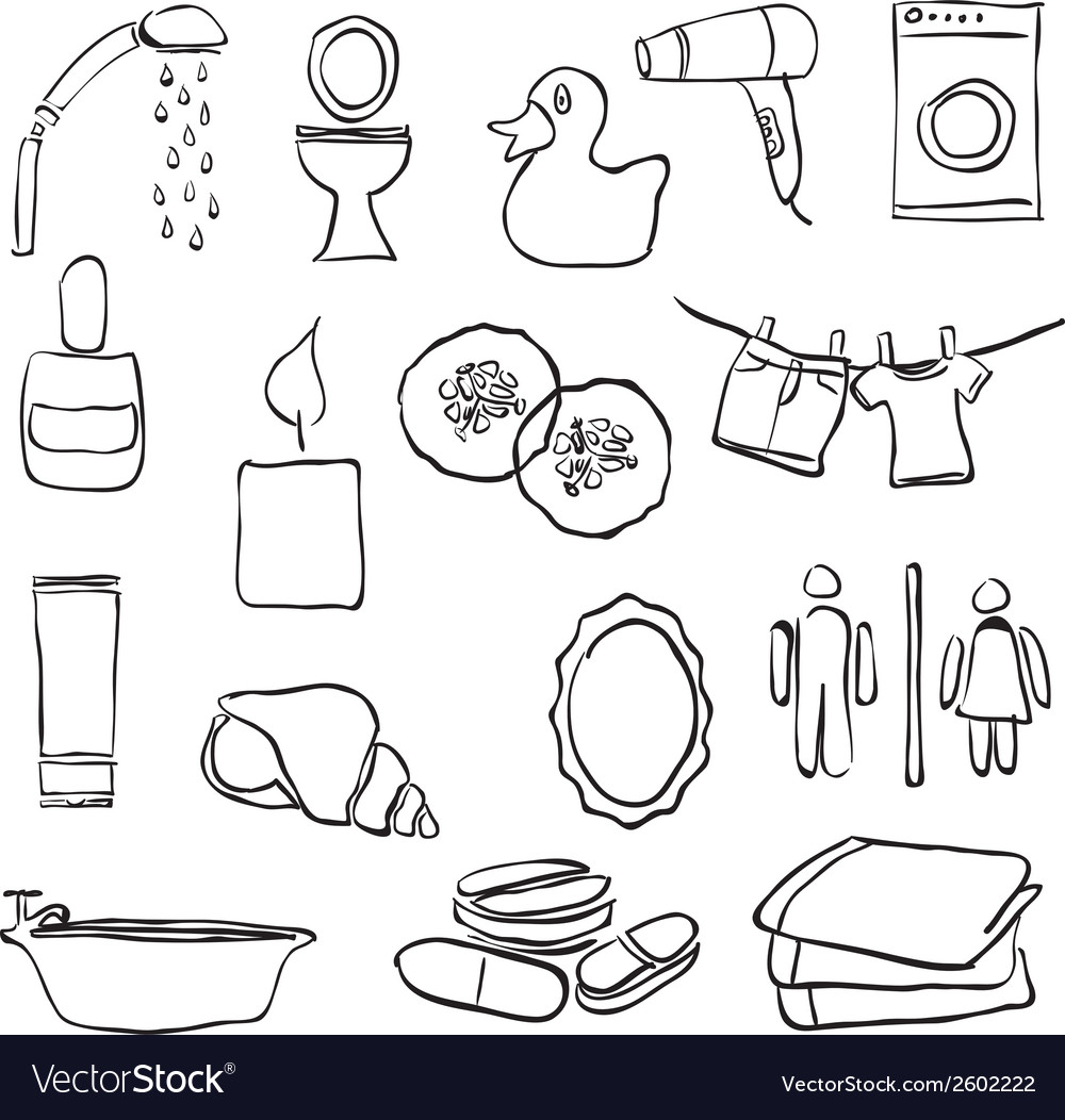 Doodle bathroom images vector | Price: 1 Credit (USD $1)