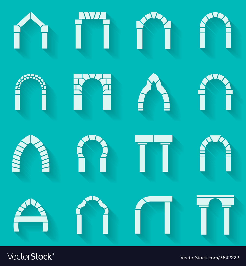 Flat silhouette icons collection of arch vector | Price: 1 Credit (USD $1)