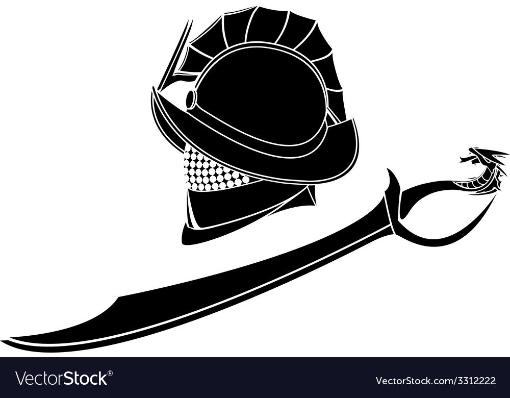 Gladiators helmet and sword vector | Price: 1 Credit (USD $1)