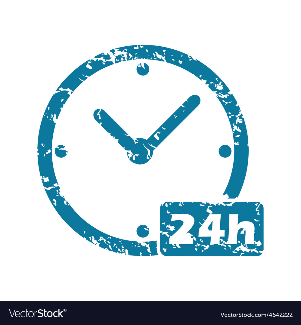 Grunge 24h workhours icon vector | Price: 1 Credit (USD $1)