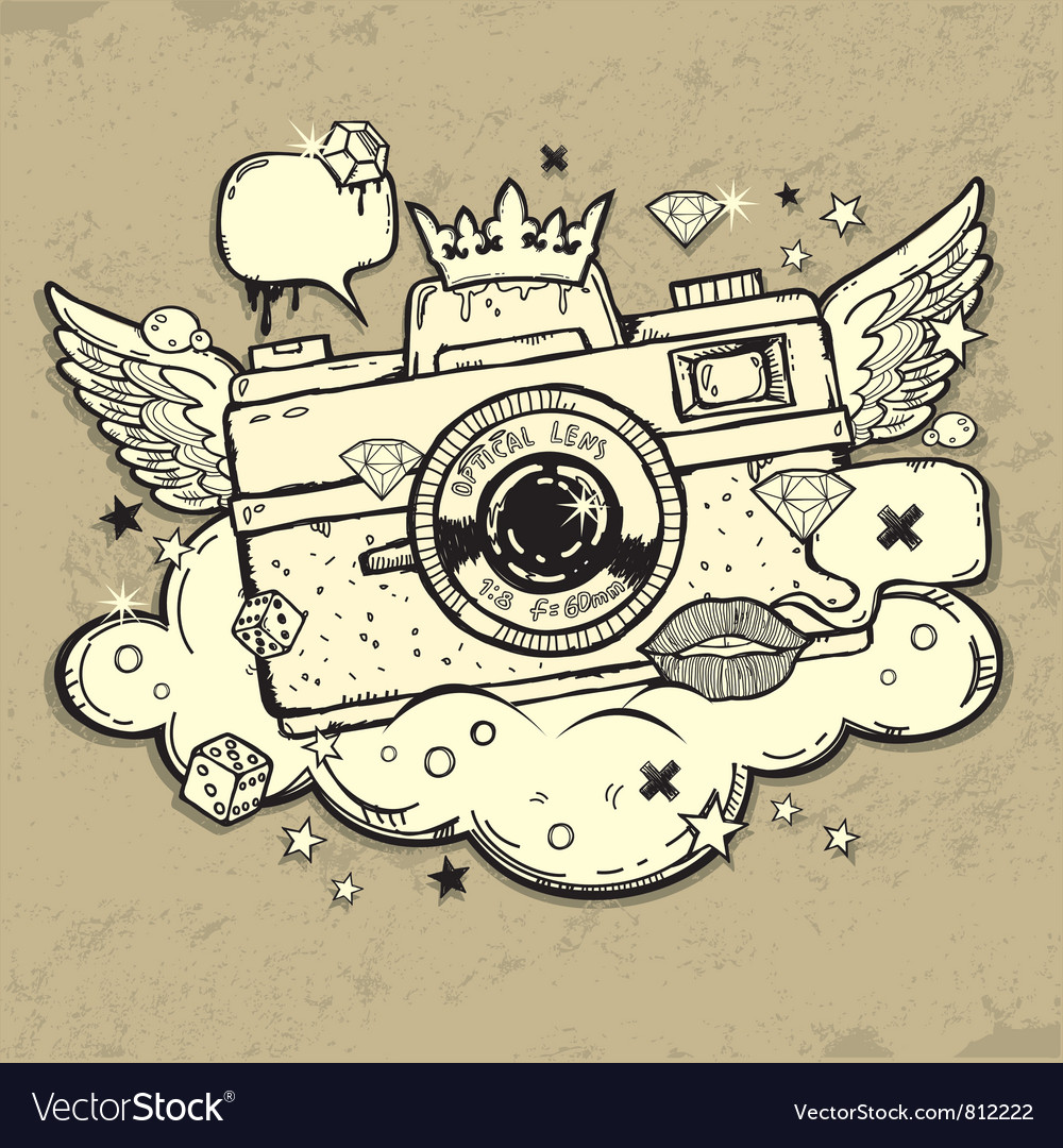 Grunge photocamera design vector
