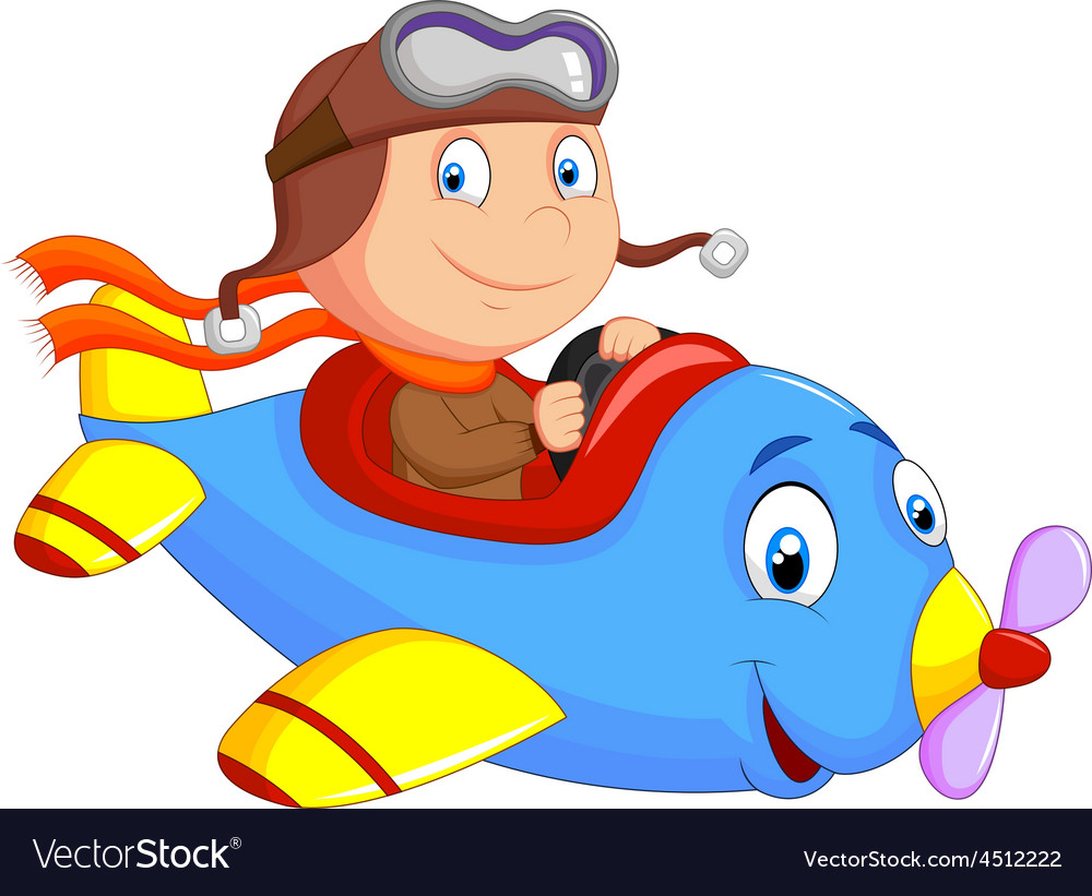 Little boy operating a plane vector | Price: 1 Credit (USD $1)