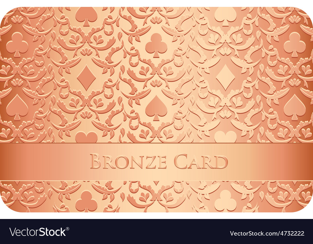 Luxury bronze card with card symbols ornament vector | Price: 1 Credit (USD $1)
