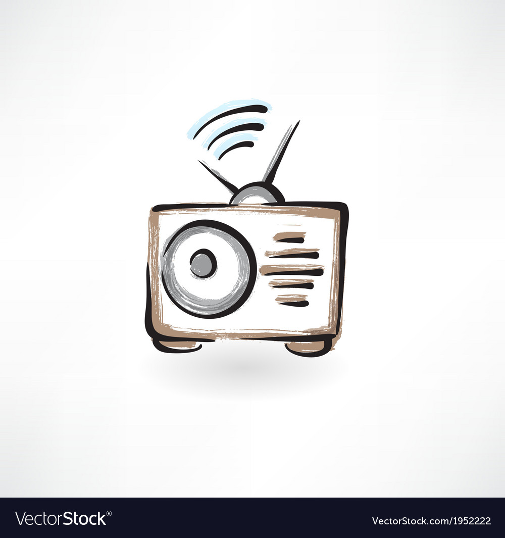 Radio grunge icon vector | Price: 1 Credit (USD $1)