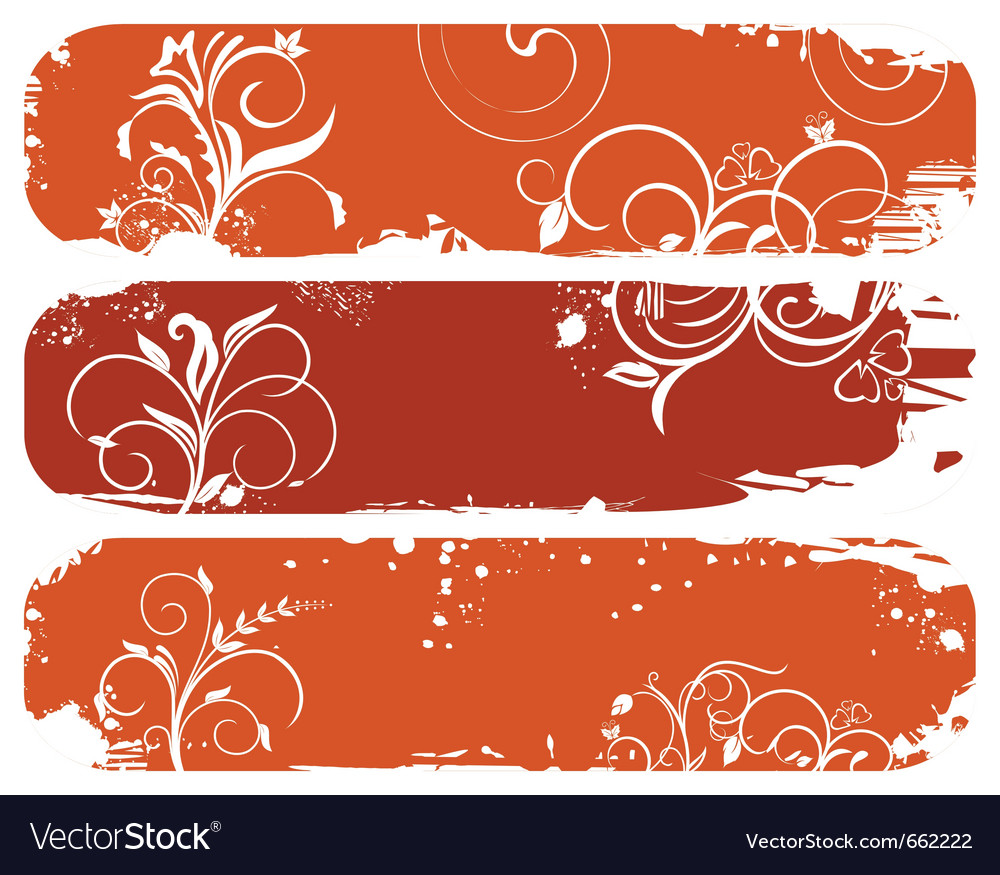 Set of horizontal floral autumn banners - vector | Price: 1 Credit (USD $1)
