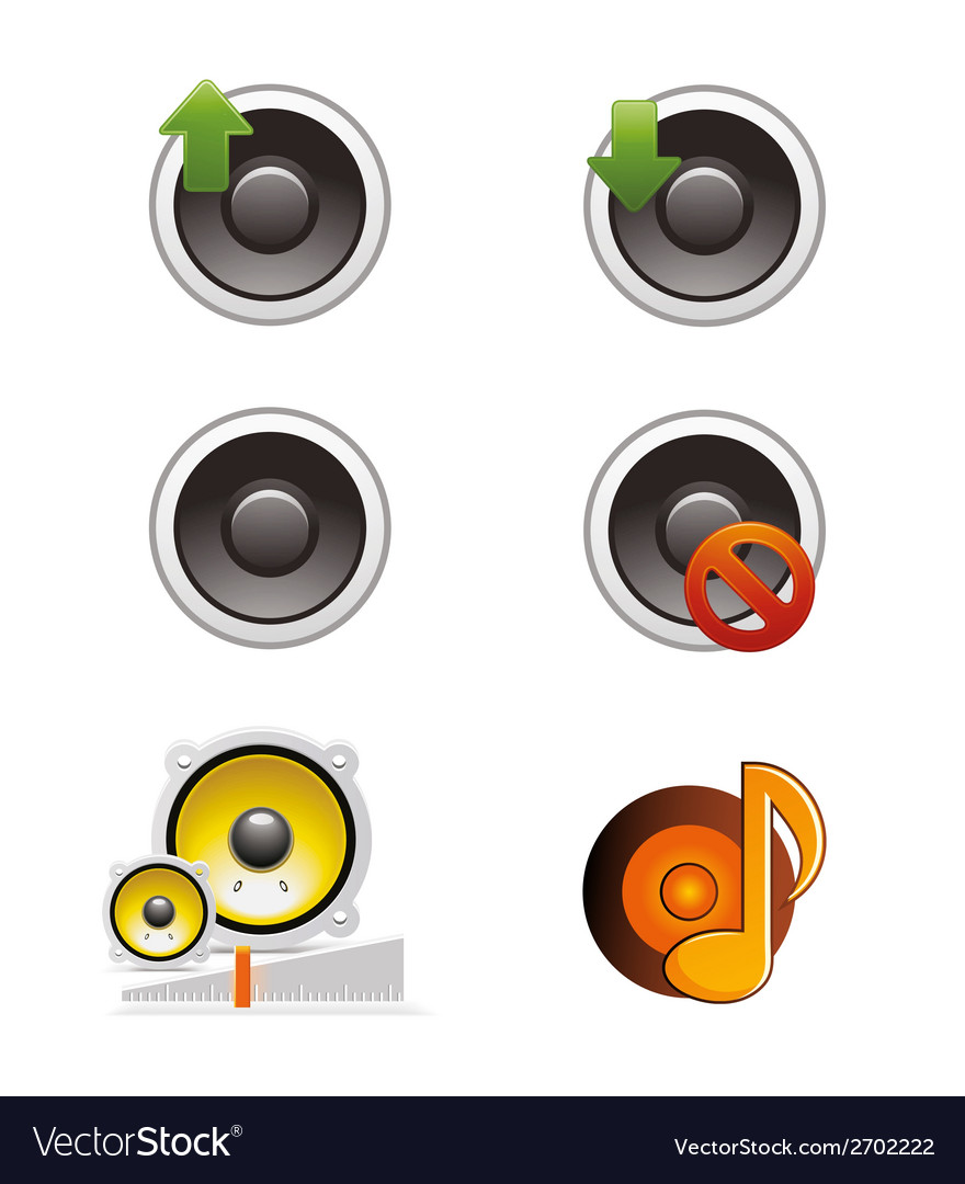 Set of speaker and volume icons vector | Price: 1 Credit (USD $1)