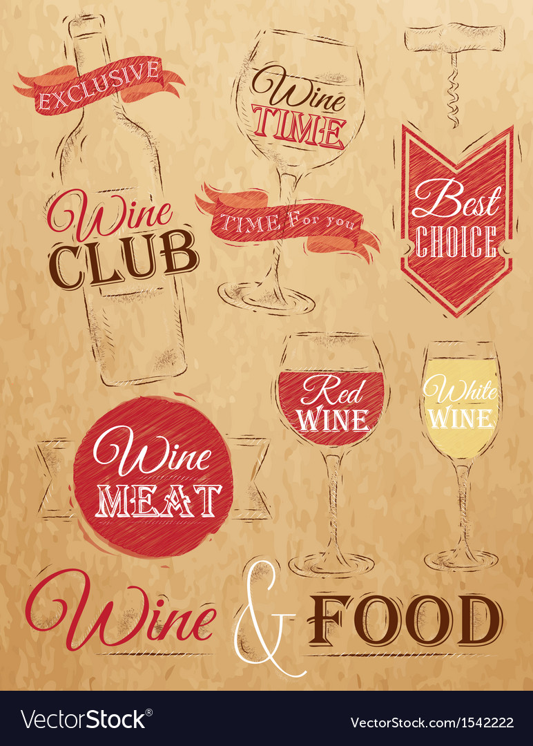 Set wine chalk kraft vector | Price: 1 Credit (USD $1)