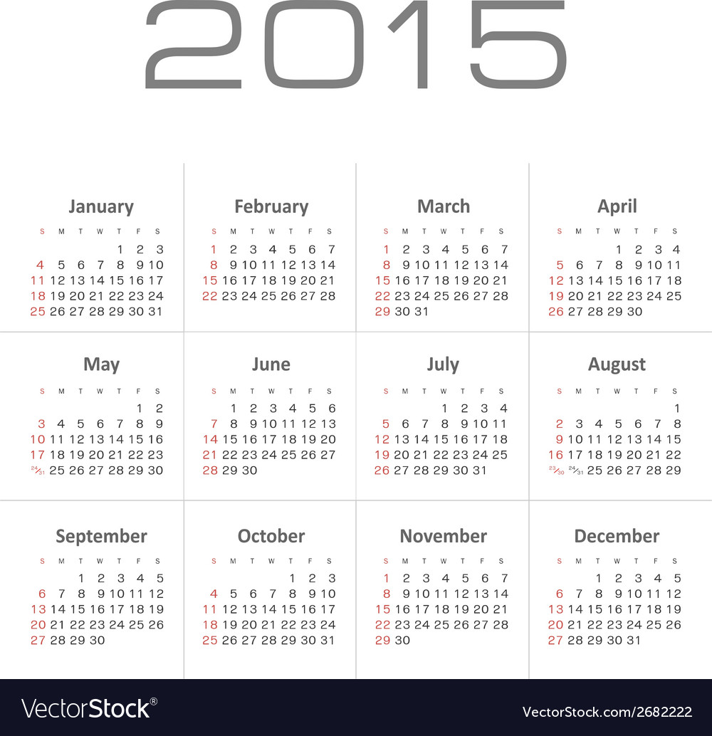 Simple calendar for 2015 year vector | Price: 1 Credit (USD $1)
