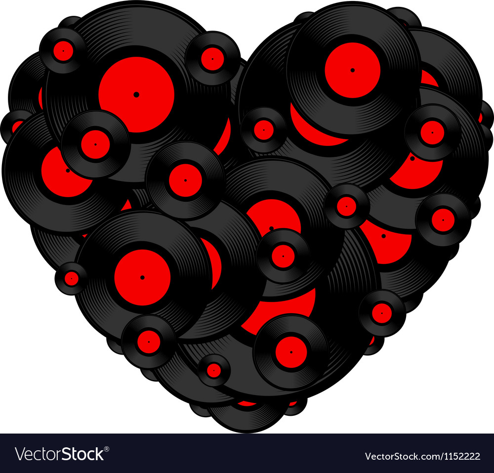 Vinyl record heart vector | Price: 1 Credit (USD $1)