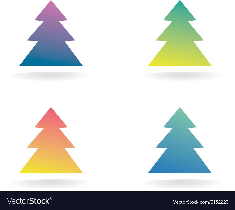 Abstract xmas tree icon set concept logotype vector | Price: 1 Credit (USD $1)