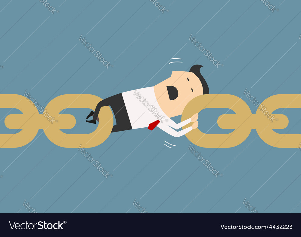 Businessman holding chain together as a link vector   Price: 1 Credit (USD $1)
