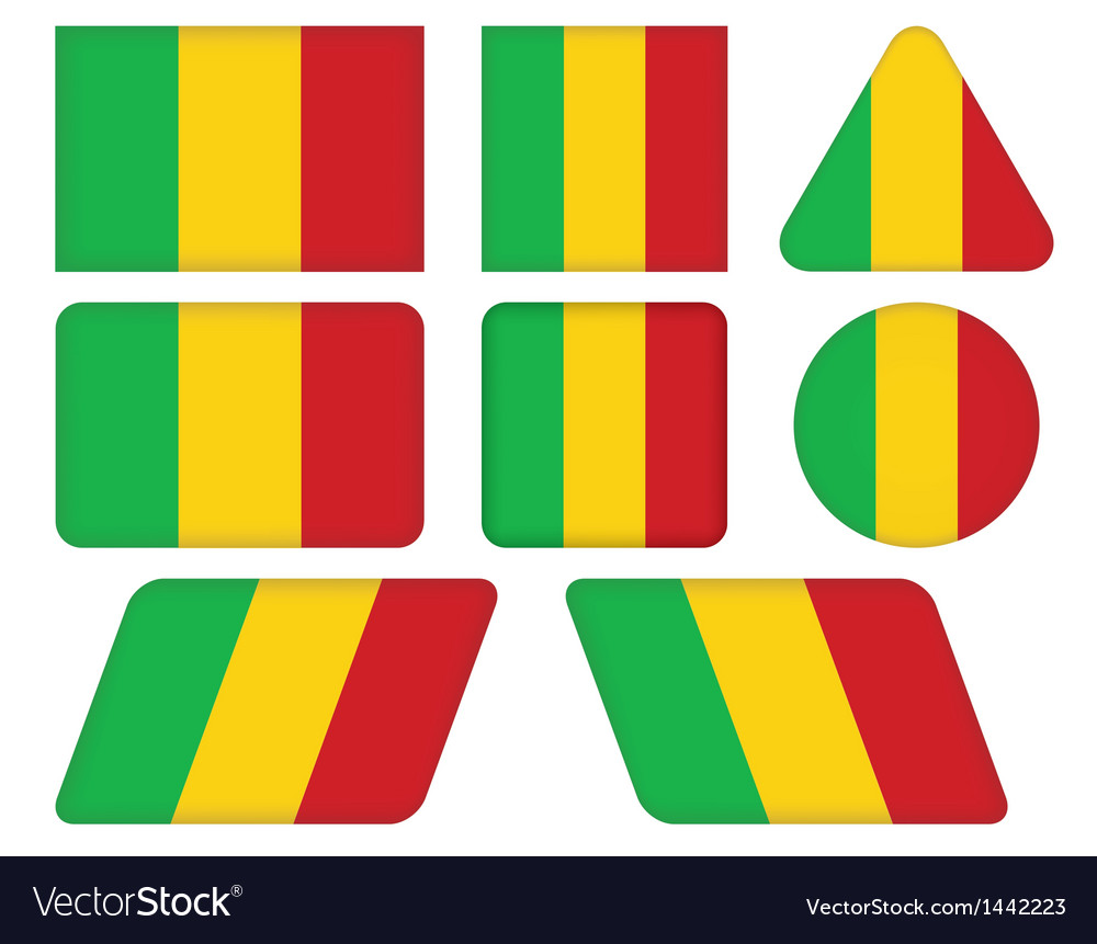 Buttons with flag of mali vector | Price: 1 Credit (USD $1)