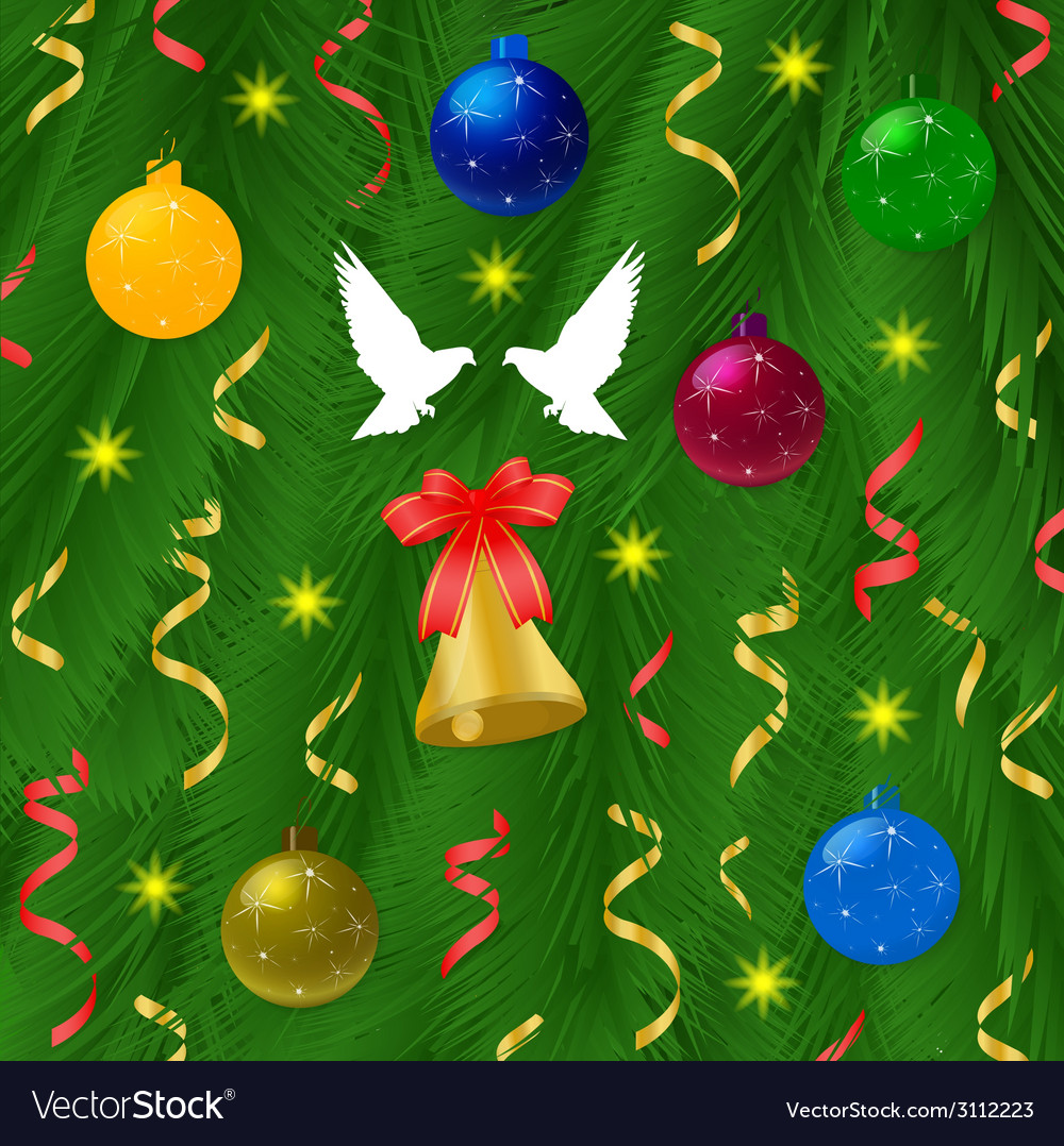 Christmas ball with pine tree and bells vector | Price: 1 Credit (USD $1)