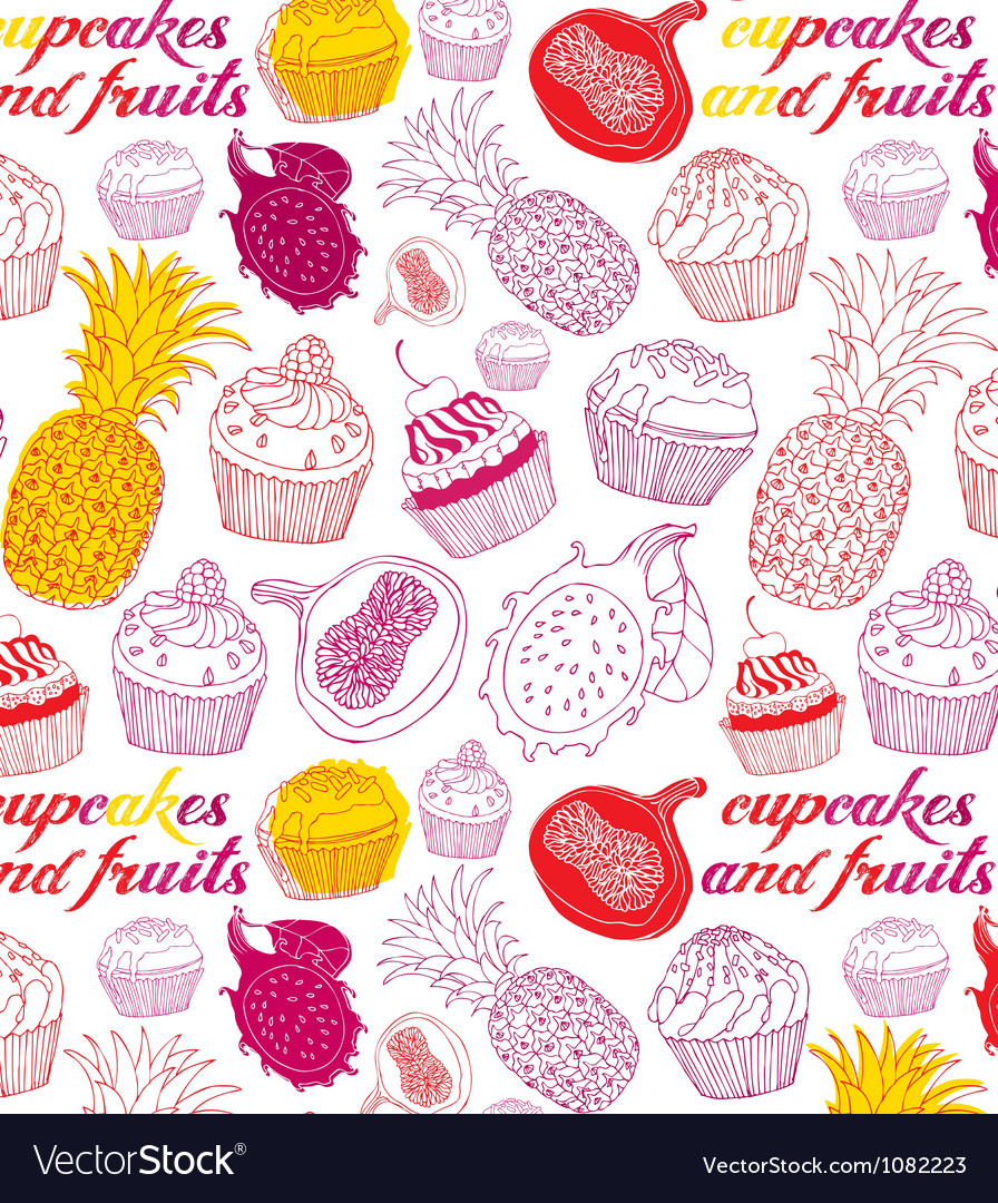 Cupcakes fruits pattern vector | Price: 1 Credit (USD $1)