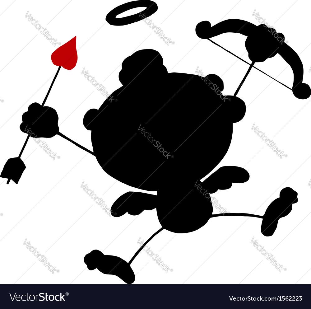 Cupid silhouette cartoon vector | Price: 1 Credit (USD $1)