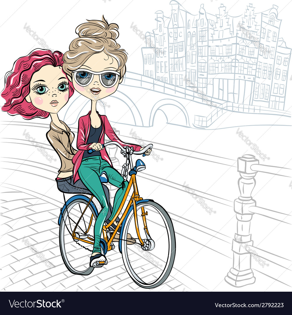 Cute beautiful fashionable girls ride a bike in am vector | Price: 1 Credit (USD $1)