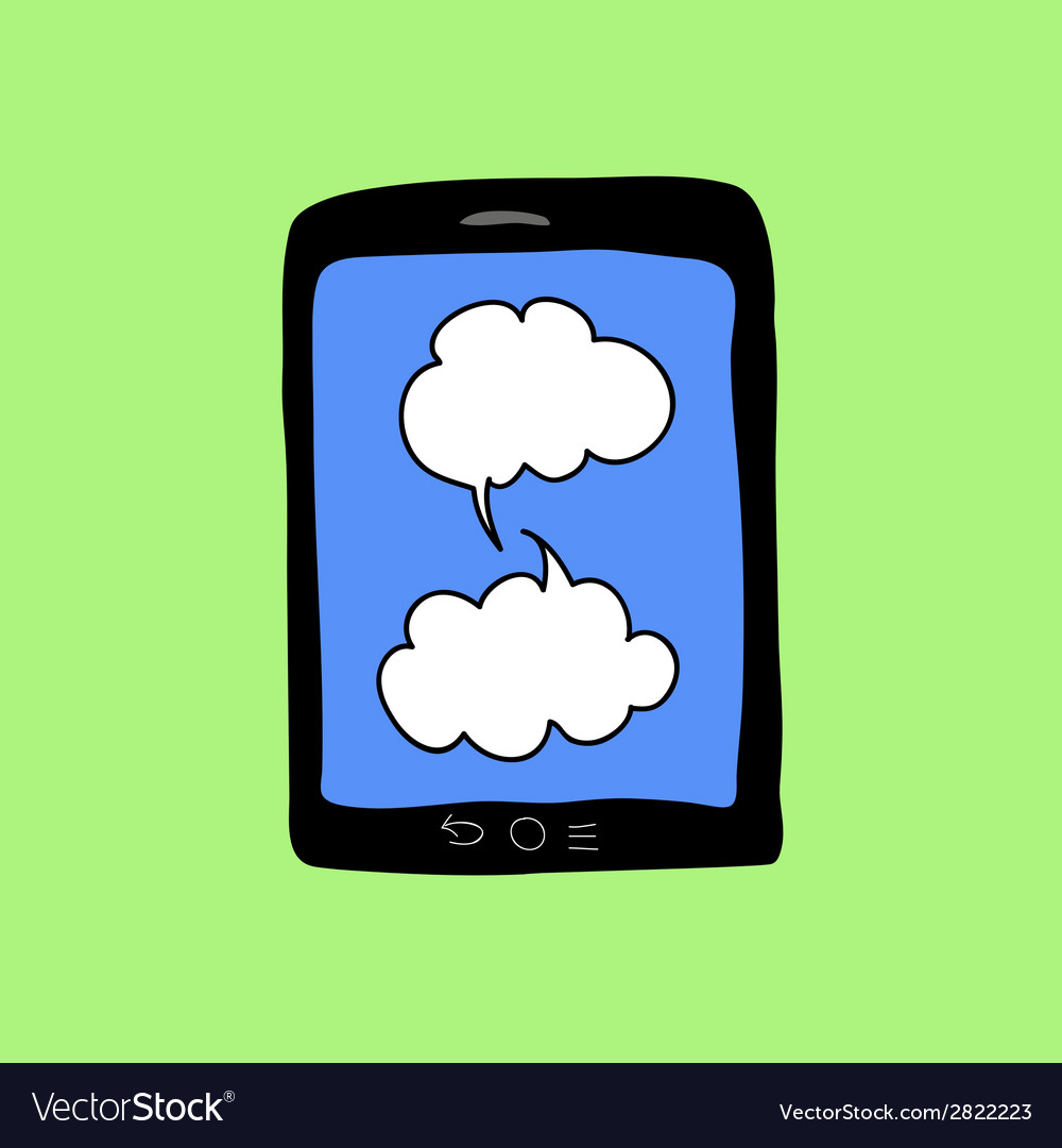 Doodle color tablet pc with chat bubbles vector   Price: 1 Credit (USD $1)