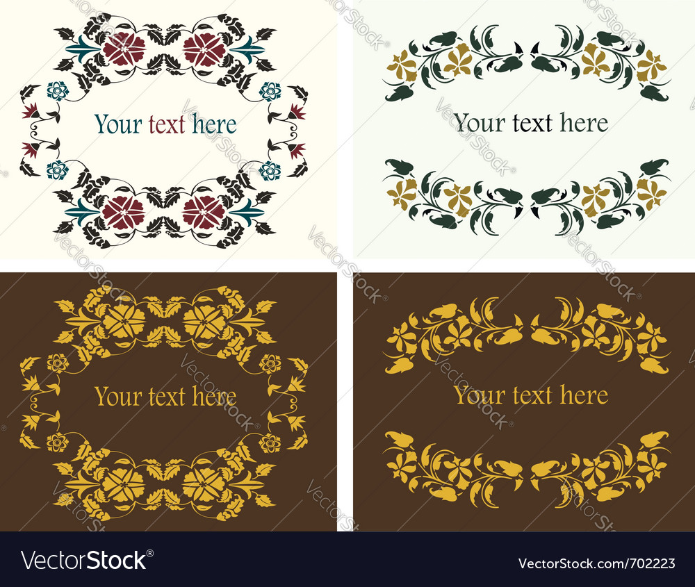 Flower decorative borders set vector | Price:  Credit (USD $)