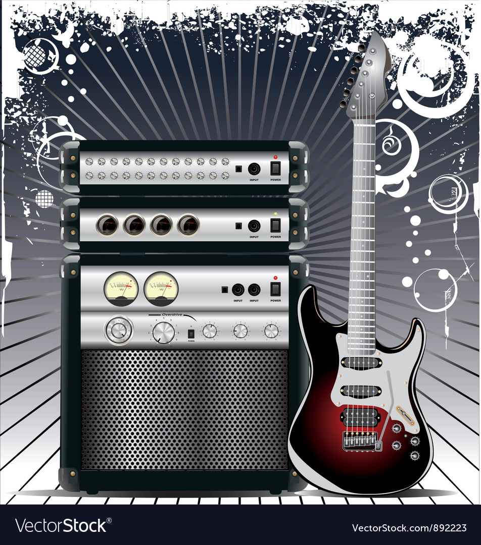 Guitar combo music background vector | Price: 1 Credit (USD $1)