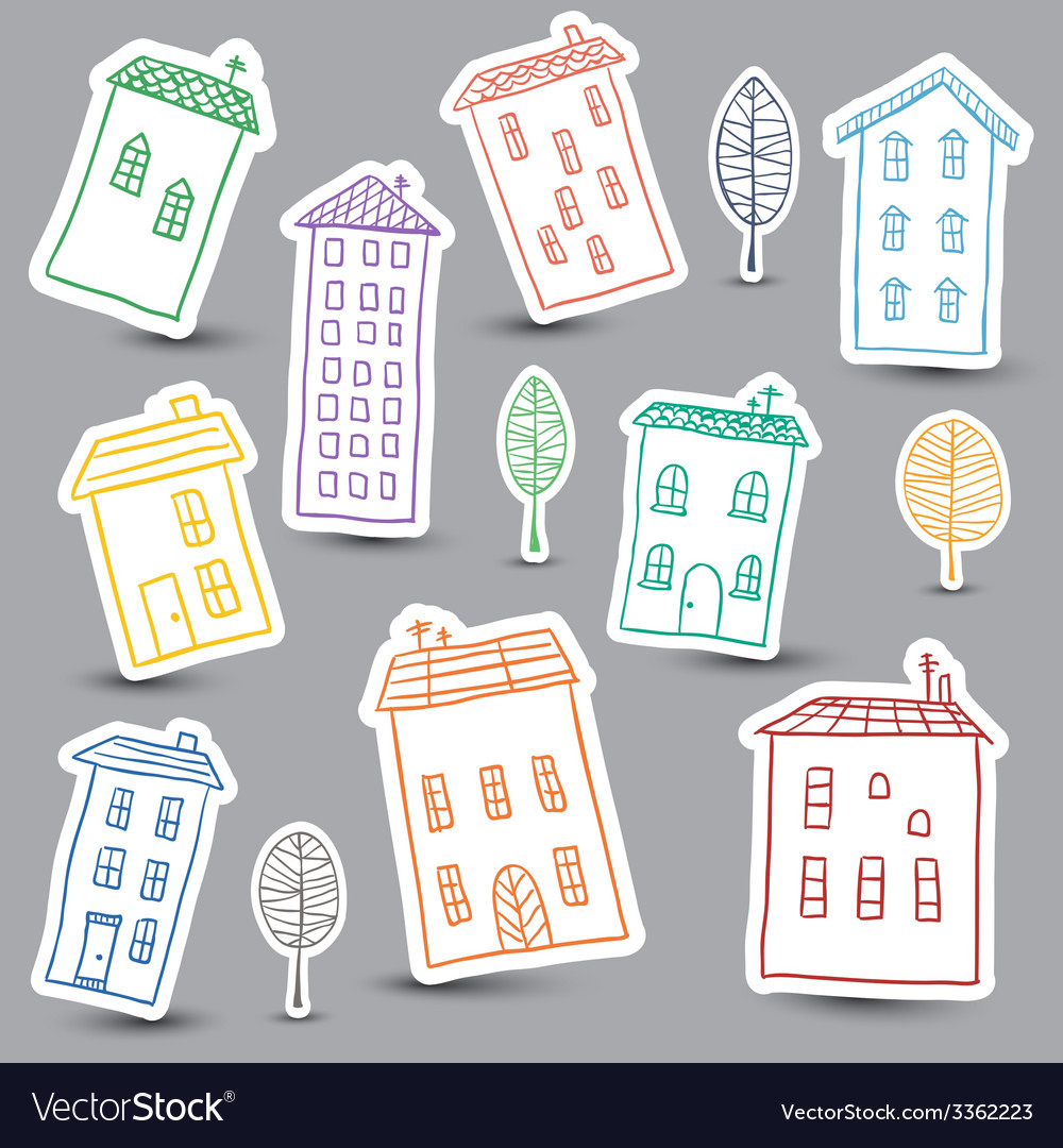 Houses doodles on white background vector | Price: 1 Credit (USD $1)