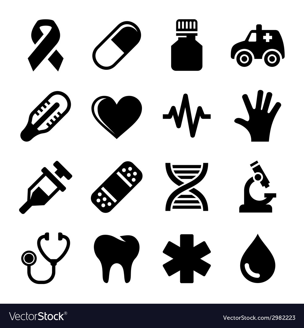 Medical and health icons set vector | Price: 1 Credit (USD $1)