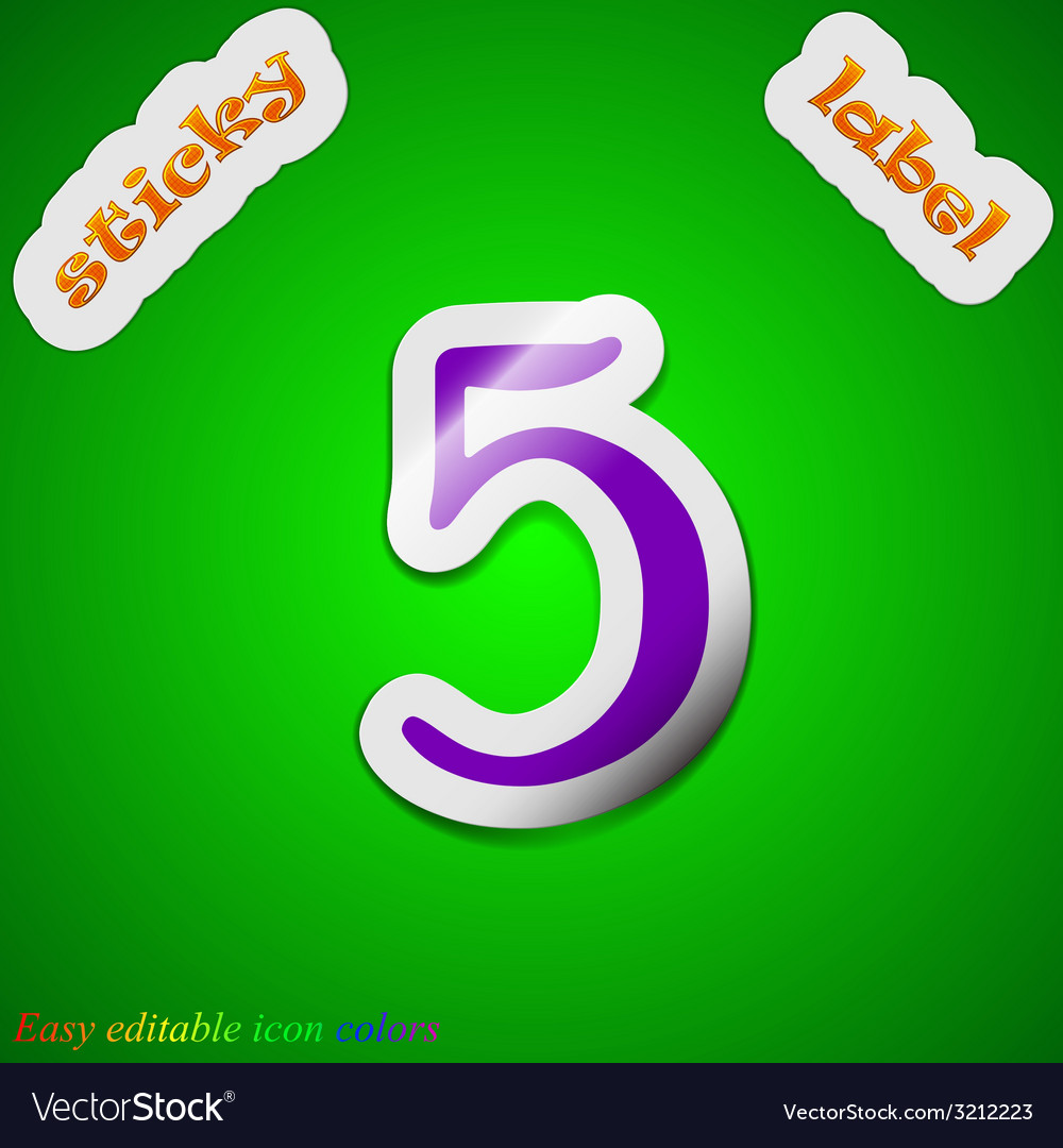 Number five icon sign symbol chic colored sticky vector | Price: 1 Credit (USD $1)