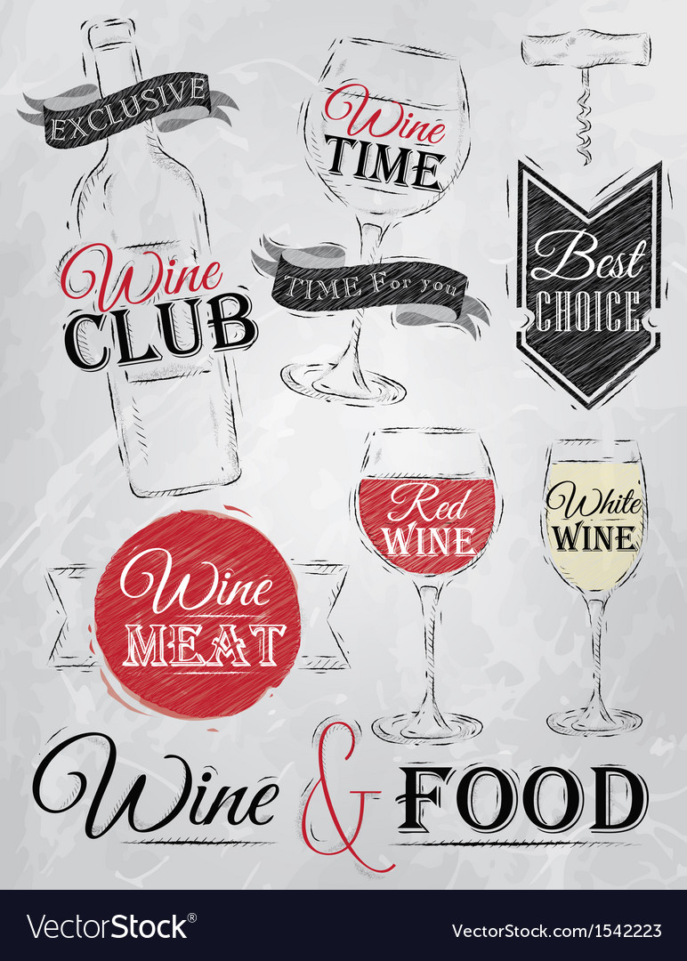 Set collection of wine wine club coal vector | Price: 1 Credit (USD $1)