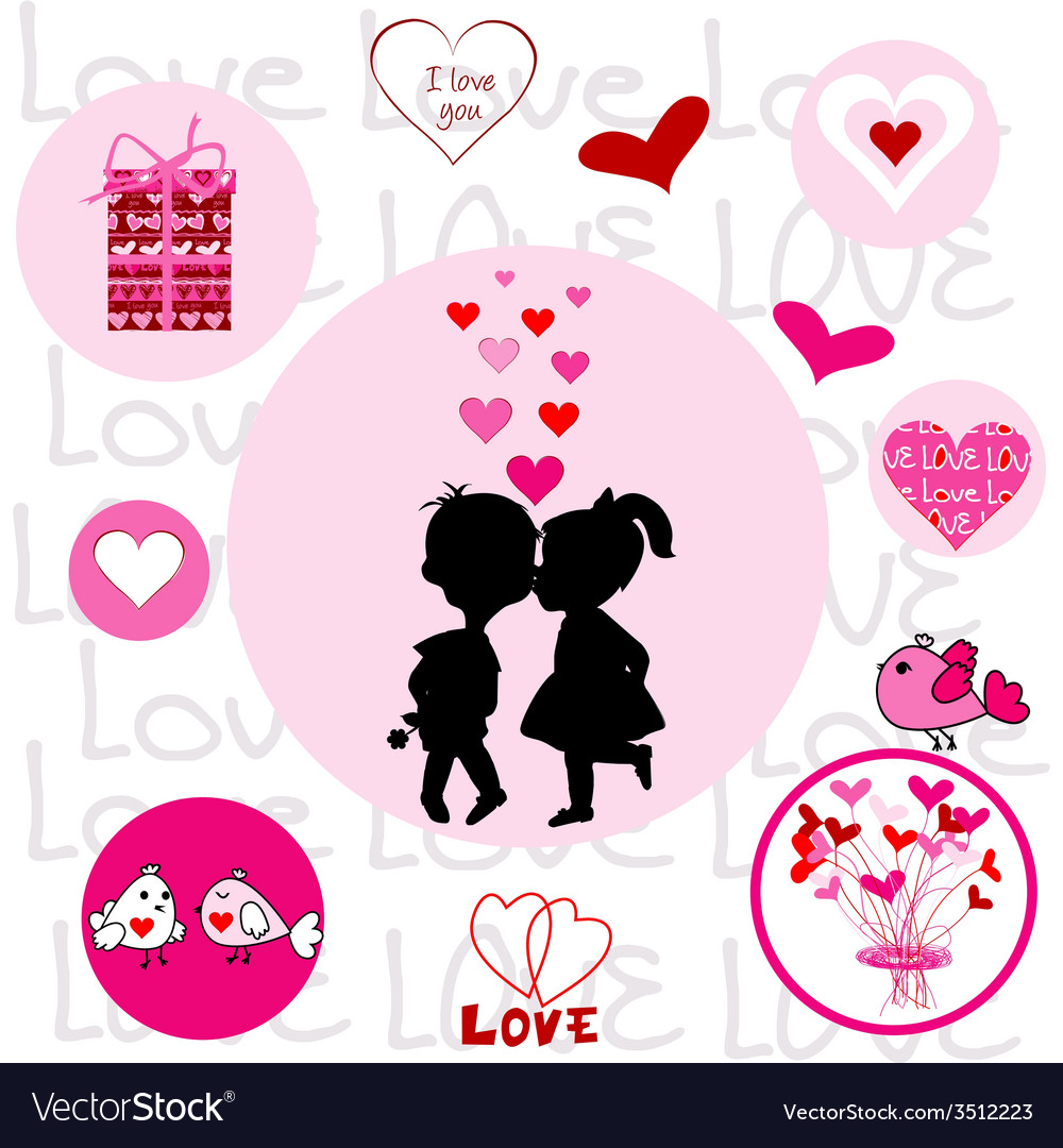 Set of round frames with valentine elements vector | Price: 1 Credit (USD $1)